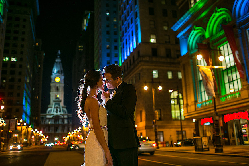 Bride and groom on Broad Street in Philly