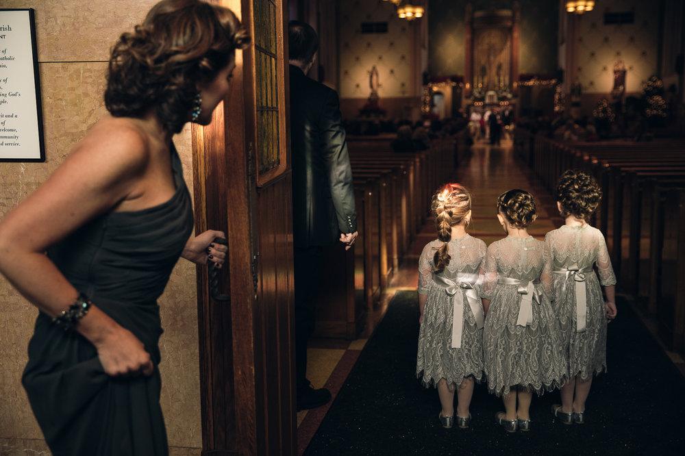 Flower girls awaiting their turn to walk down the aisle at a Philadelphia wedding