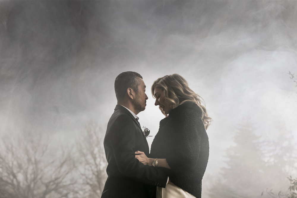 Wedding portrait in moody fog at the Cylburn Arboretum in Baltimore