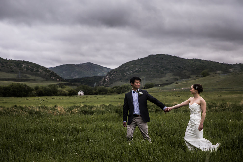 Wedding portraits in a green field in Littleton Colorado
