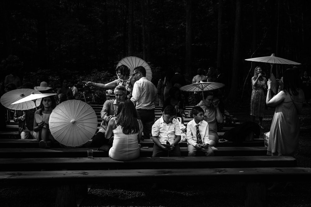 Umbrellas at Wedding in Shenandoah Woods, Virginia