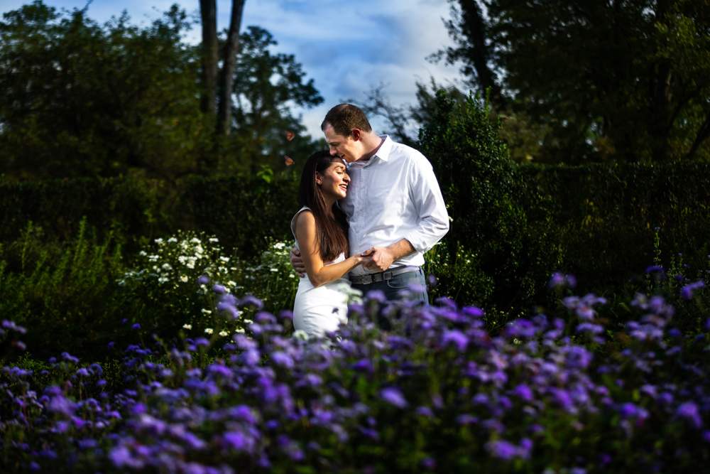 Couple in front of flowers at Ladew Gardens, Maryland