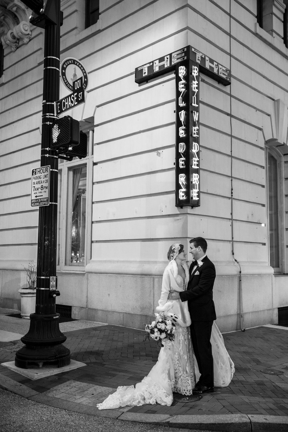 Wedding couple at the Belvedere Hotel in Baltimore