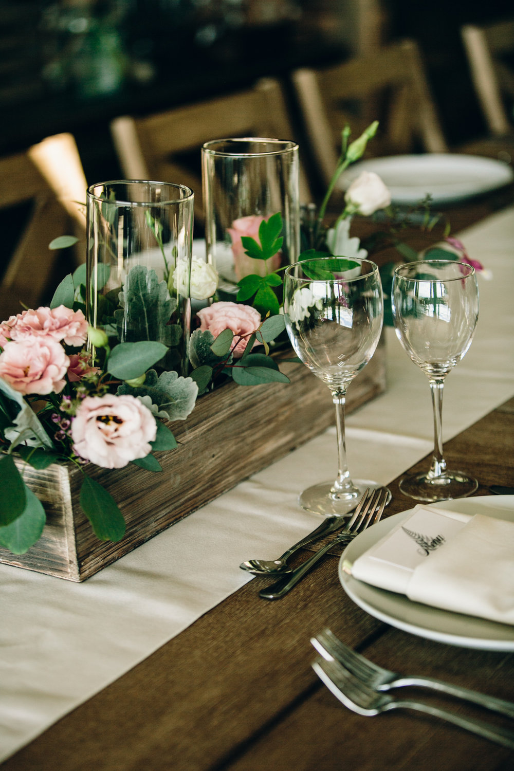 Table details at a wedding in Lambs Hill, Hudson Valley New York