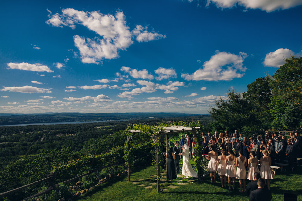 Wedding ceremony at Lambs Hill in the Hudson Valley