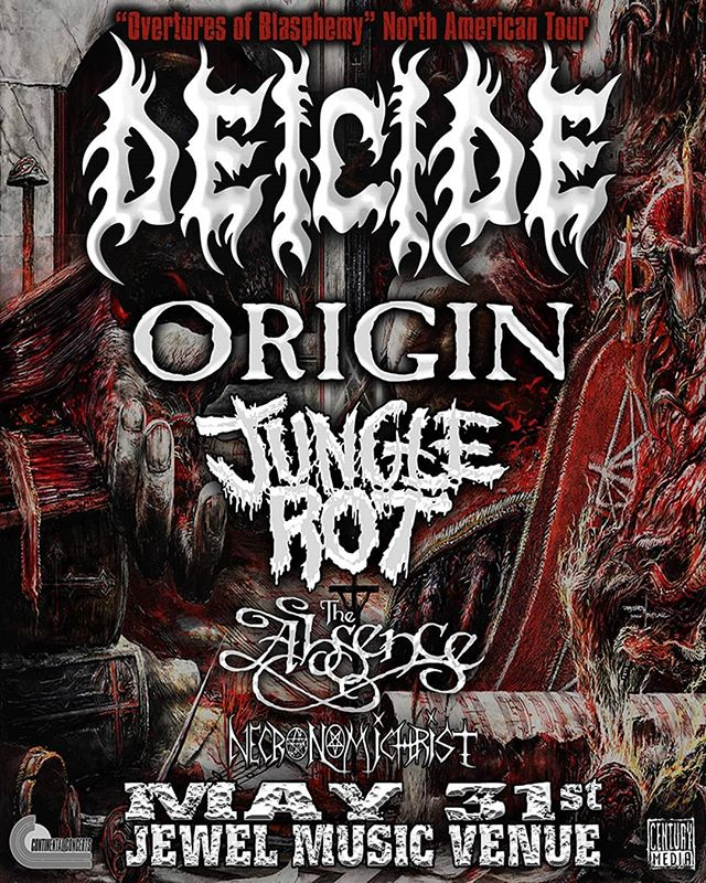 We are honored to be opening for the legendary Deicide on May 31st when they hit New England for their Overtures of Blasphemy North American tour with Origin, Jungle Rot, and The Absence at Jewel in Manchester, NH!  Hit us up if you're looking for tickets, and don't sleep on this because it's definitely gonna sell out!  @deicideofficial @originband @jungle_rot @theabsenceofficial #Necronomichrist #Deicide #Origin #JungleRot #TheAbsence #extrememetal #deathmetal #blastbeats #OverturesOfBlasphemy #CenturyMedia #livemusic #NH #MetalNewEngland