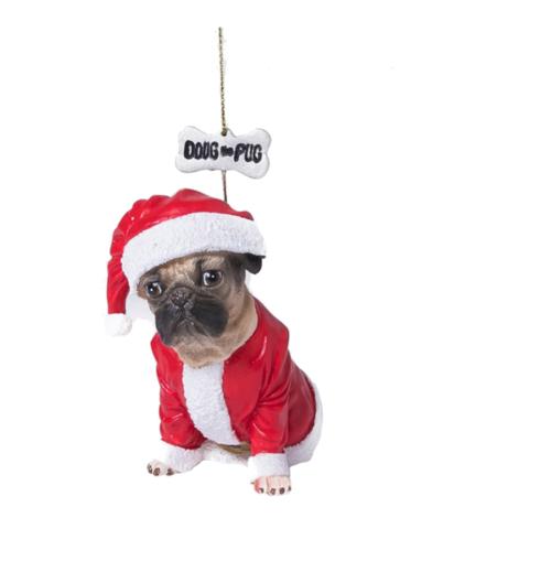 doug the pug santa suit christmas ornament