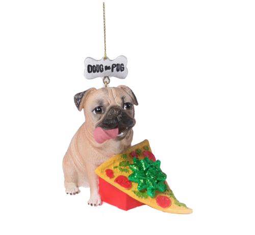 doug the pug pizza christmas ornament