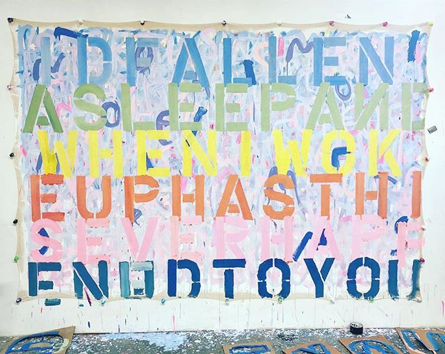"""""""For A Moment I Remained In This,"""" acrylic (and #cbd) on tarp. #painting by @rachelkice #words by @matthewspecktor from #novel #americandreammachine This #series is #americanartmachine"""