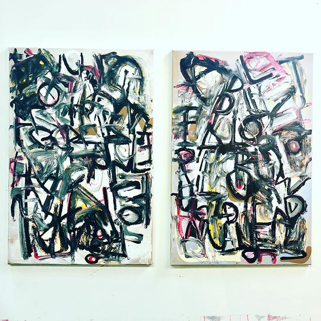 Yet untitled paintings from Chapter 1 .  I'm painting every word of the novel #americandreammachine #wetpaint #mixedmedia #artist #dtla #americanartmachine #matthewspecktor #rachelkice