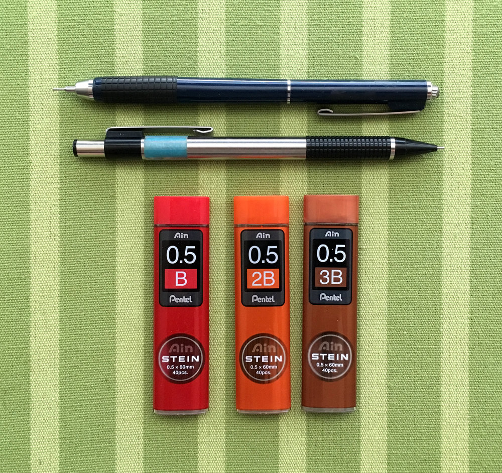 "I'm always misplacing my mechanical pencils, so I like to have several on hand, as well as plenty of extra lead. Plus, I recently ""discovered"" 3B mechanical lead. So soft and dark. Heaven. Rivals my 4B pencils."