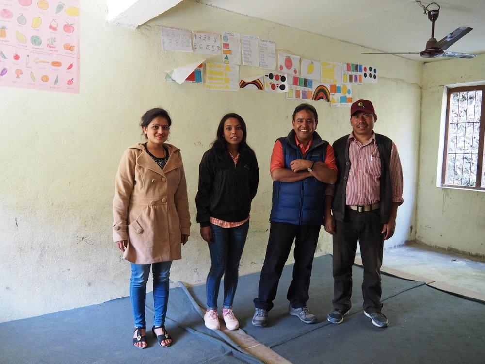 FSH staff Yasoda, Ranjana, director Durga, and Dal.