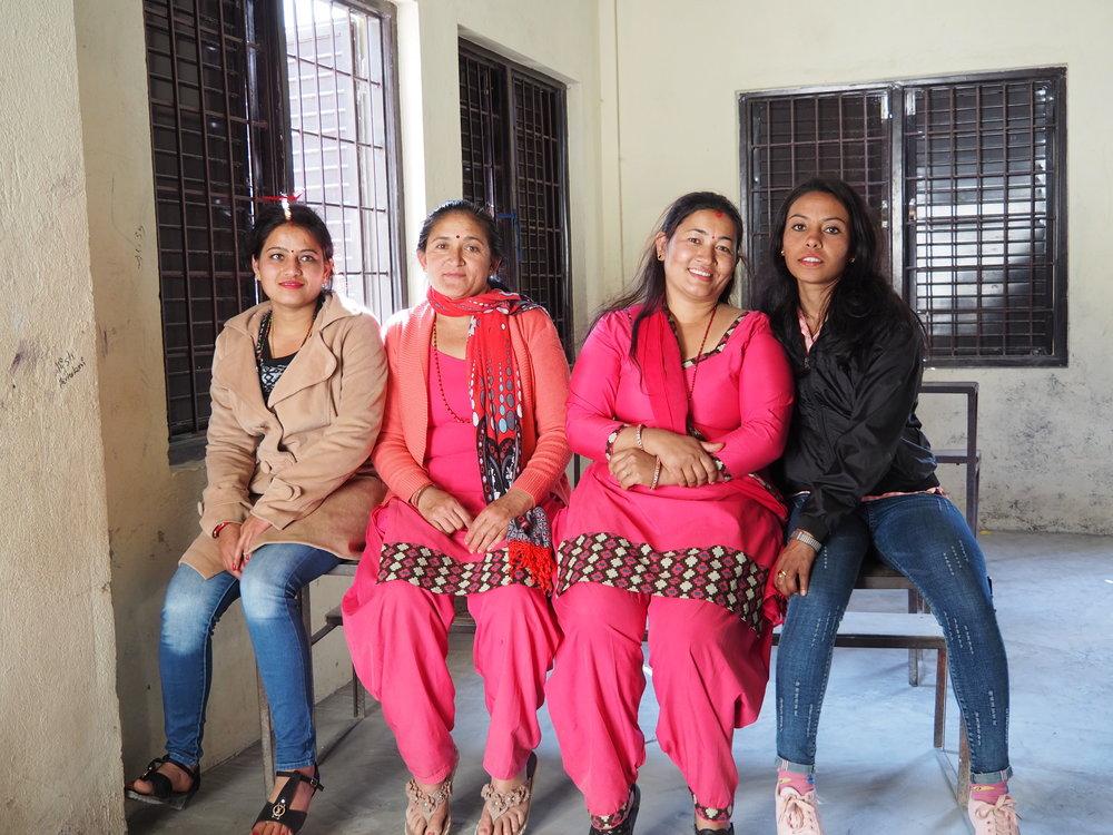 Ranjana and Yasoda with two local teachers.