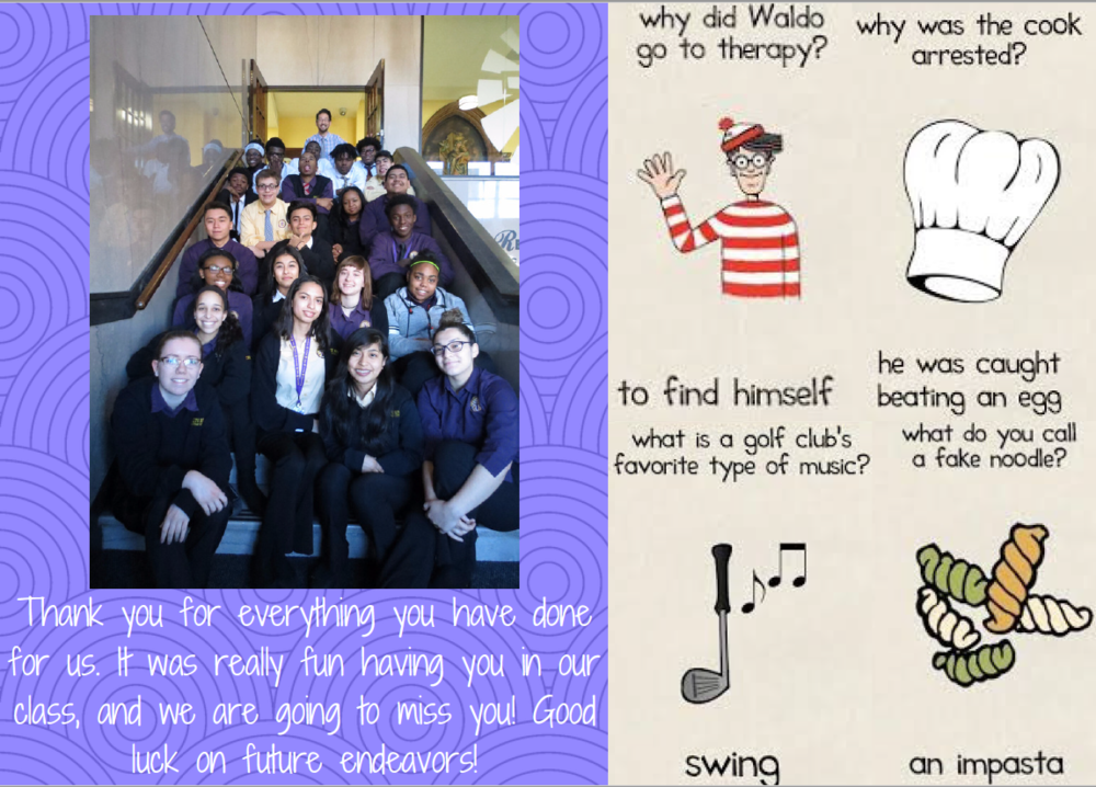 A funny card my Intro to Photography students made for me