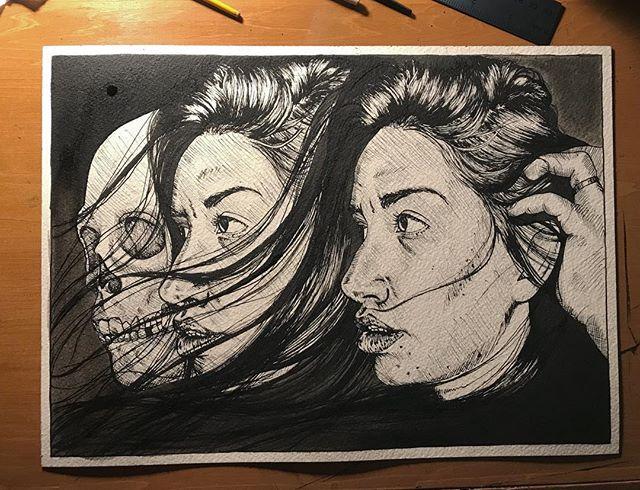 An inky set of worried profiles, still in progress #drawing #wip #ink #pendrawing #portrait