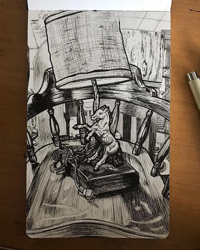 Abandoned magical thrift store horse lamp🐴💡 . . . . #art #artist #stilllife #illustration #drawing #pendrawing #sketchbook #thriftstore