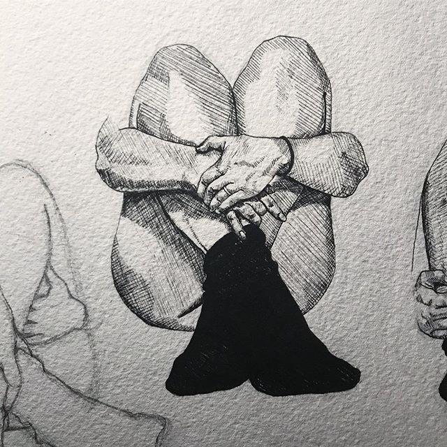 Hugged knees, drawing stages 🖤🖤🖤 . . . . . #art #artist #drawing #sketch #penandink #pendrawing #ink #figure #illustration