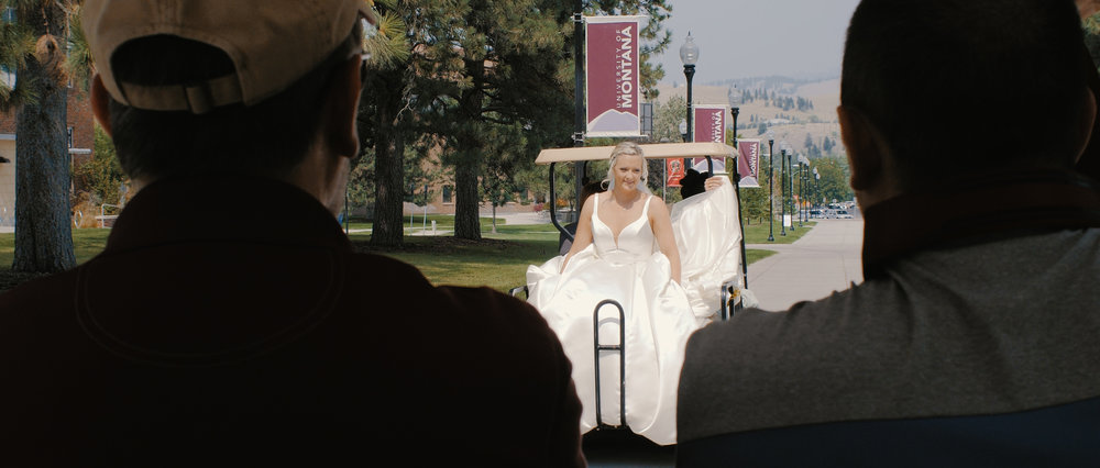 Bride Riding in Golf Cart in Missoula Montana
