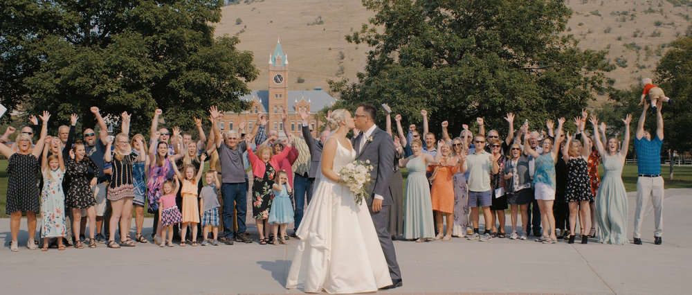Huge Family Celebrates Bride and Groom