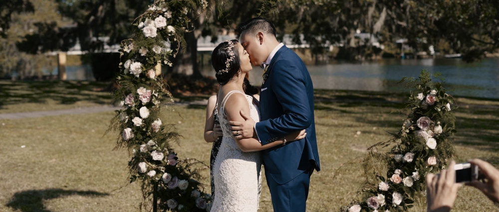 Bride and Groom Kiss at Wedding in Florida