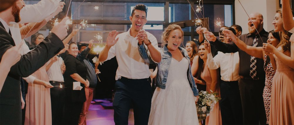 Beautiful Couple Exit Wedding with Sparklers