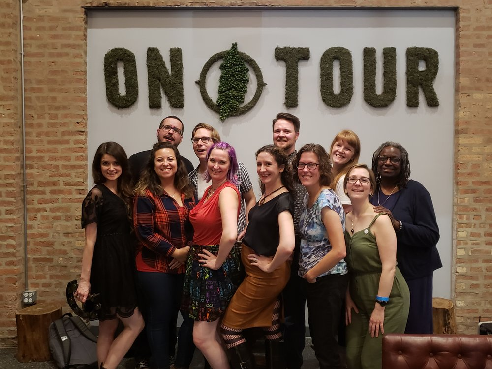 From left: Leigh Yennrick and Travis Cook of Tiny Shoulders, Dee Fuentes, Andrew Rostan, Abby Dryer, Elizabeth Gonzalez, Murphy Row, Sarah Bowden, Megan Grandstaff, Christina Brandon, Phyllis Porche.