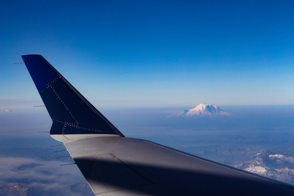 Our first flight took us to Seattle and we were able to see Mt. Rainier!