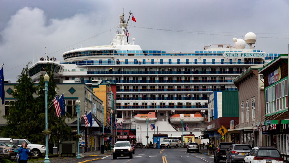 Ketchikan is huge for tourists... there were about 6 of these cruise ships in the bay!