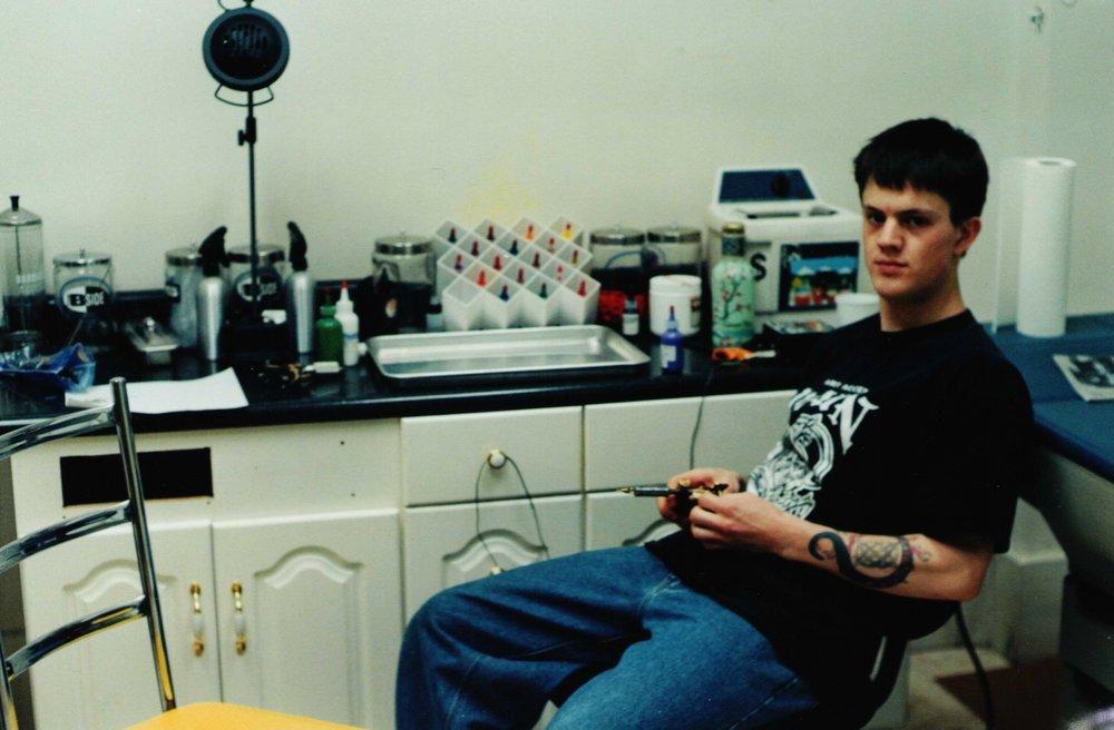 #TBT - In the beginning... Twenty-one years ago, in Jesse's first shop:Body Art Tattoo, Burlington, Vermont.