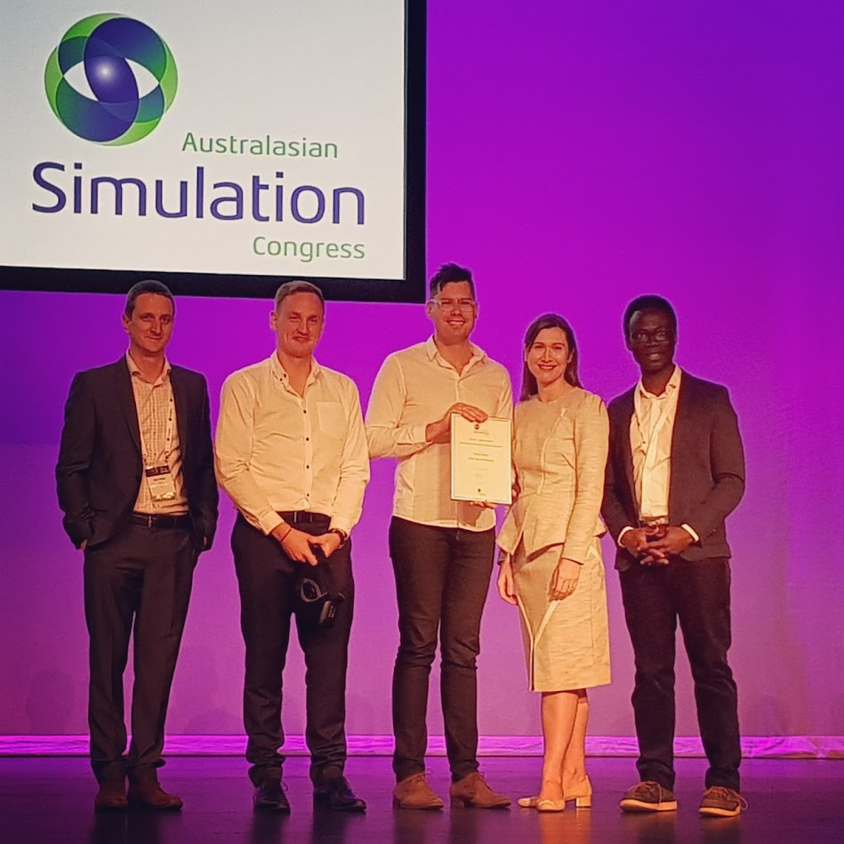 The team alongside Australasian Simulation Congress 2017 Serious Games Convenor,Dale Linegar