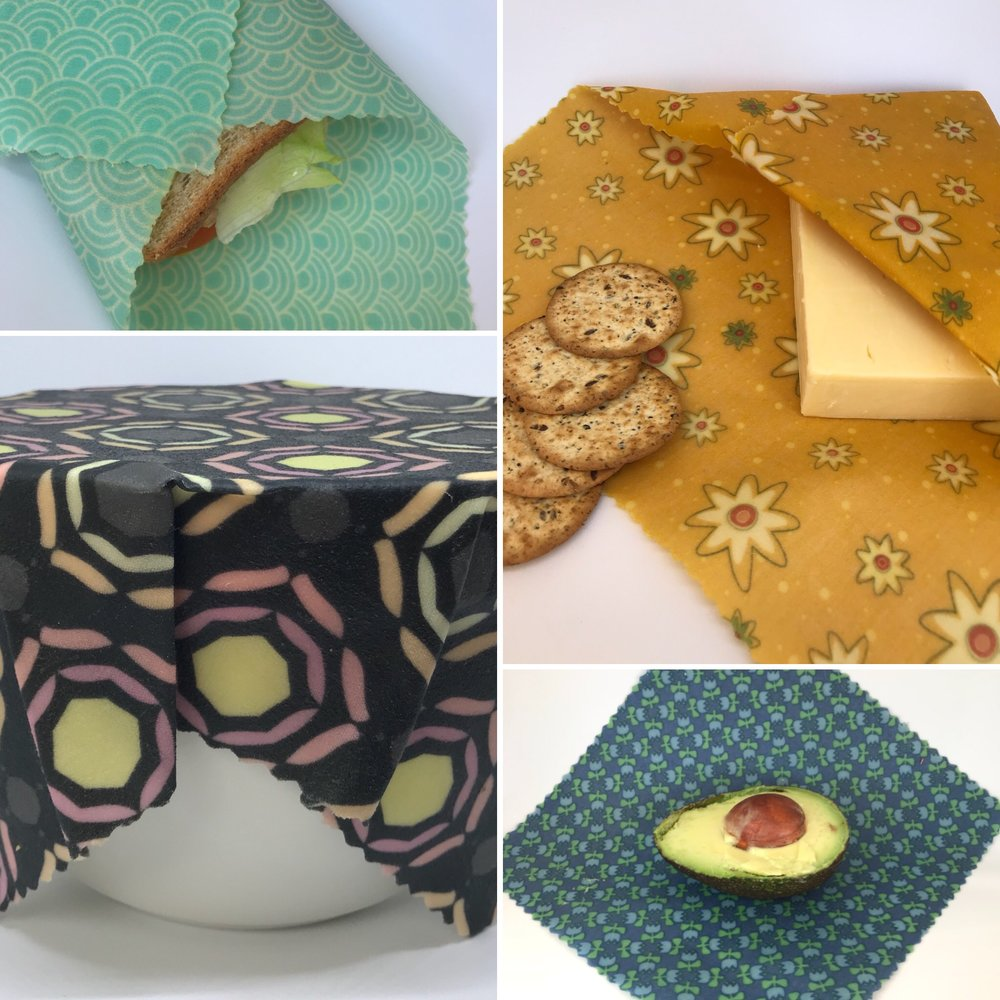 The Grove 3429 - Local Sunbury maker of beeswax wraps, a sustainable alternative to single-use plastic wrap. These reusable food cloths are wrapped around your food, over bowls or in your lunch box and keep your food fresh while also helping reduce plastic waste going to landfill.