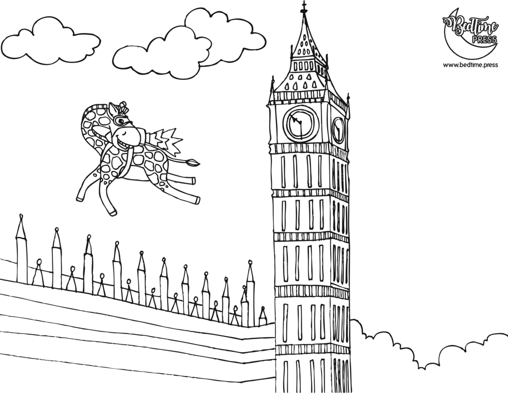 Jetpack Giraffe Big Ben Coloring Page Bedtime Kids Story Picture Book