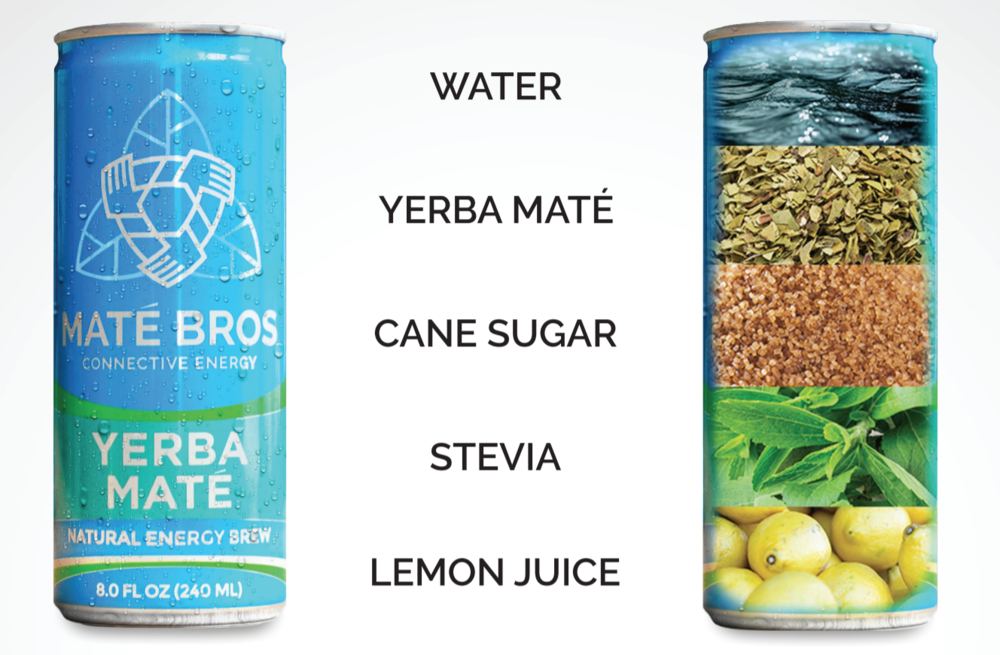 Have a look! - MatéBros uses five all natural ingredients to delivery you Simply Energy. It's also simply amazing how our drink can taste so familiar and refreshing at the same time! Yerba Mate is a South American tea that is known for its nutritional value + natural caffeine, and is our