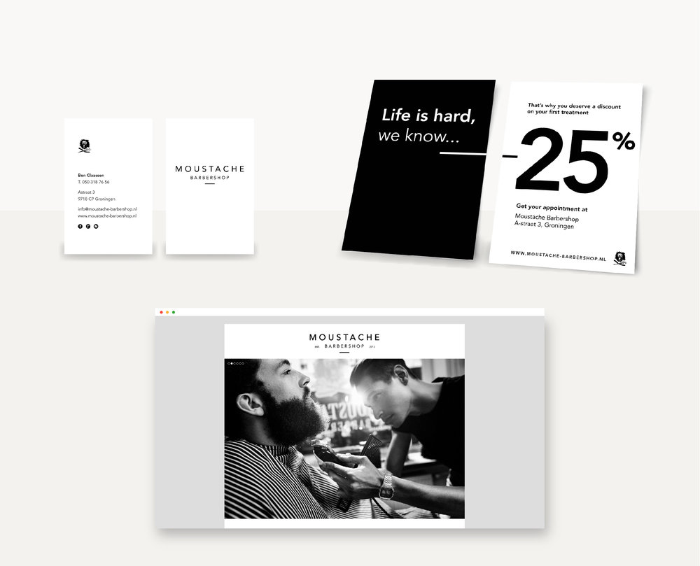 Moustache Barbershop - Branding | Webdesign | Flyer | Businesscard | Giftcard