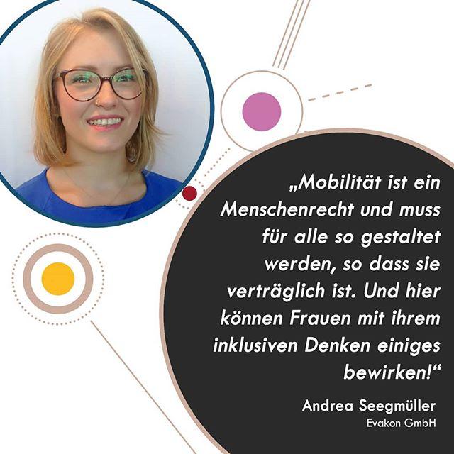 Fünf Young Professionals und Nachwuchsführungskräfte haben die Chance erhalten, beim WiM Luncheon auf der InnoTrans starke Frauen aus der Mobilitätsbranche kennenzulernen und zu Netzwerken, was das Zeug hält! Hier erzählen sie uns, was die Mobilitätsbranche für sie so besonders macht und warum eine Plattform wie Women in Mobility so wichtig für den weiblichen Nachwuchs in der Mobilitätsbranche ist.  Andrea Seegmüller @frauseegns ist Projektleiterin bei der Evakon GmbH. Als Young Professional bekam sie die einmalige Chance beim Aufbau eines Unternehmens von Tag 1 als erste Angestellte mit dabei zu sein. Die viele Arbeit und das Risiko, bei einem Nichterfolg direkt wieder den Job zu verlieren, haben sich ausgezahlt: Andrea steigt noch dieses Jahr als Minderheitsgesellschafterin bei der Evakon GmbH ein. Diese Erfolgsstory und ihre Erlebnisse auf dem Weg dorthin möchte sie gerne mit anderen WiM teilen, die am Anfang ihrer Karriere in der Mobilitätbranche stehen.  #womeninmobility #womenintransport #WiM #career #youngprofessionals #innotrans #WiMluncheon