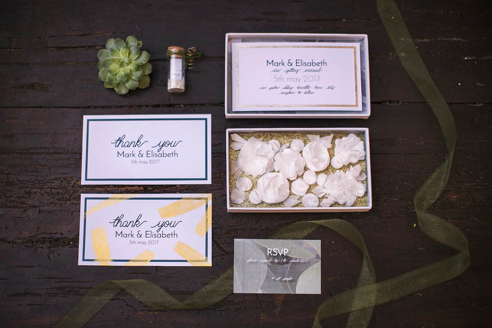 Greenery wedding stationery