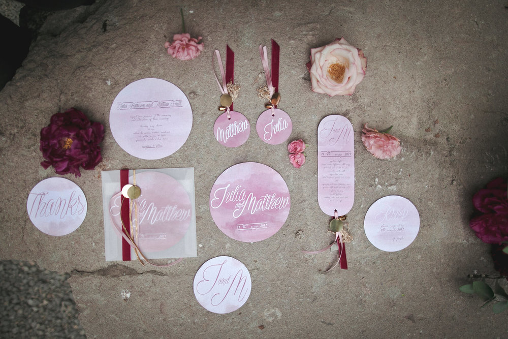 Baroque pink wedding stationery