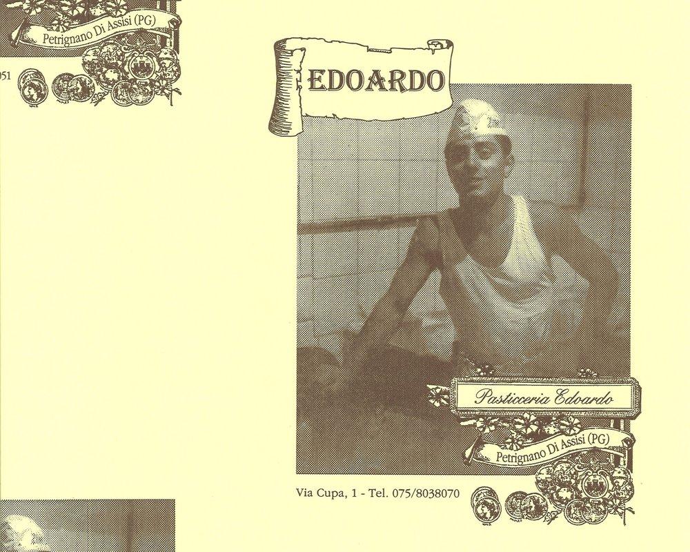 La storica carta di Pasticceria Edoardo in uso fino al 2011.