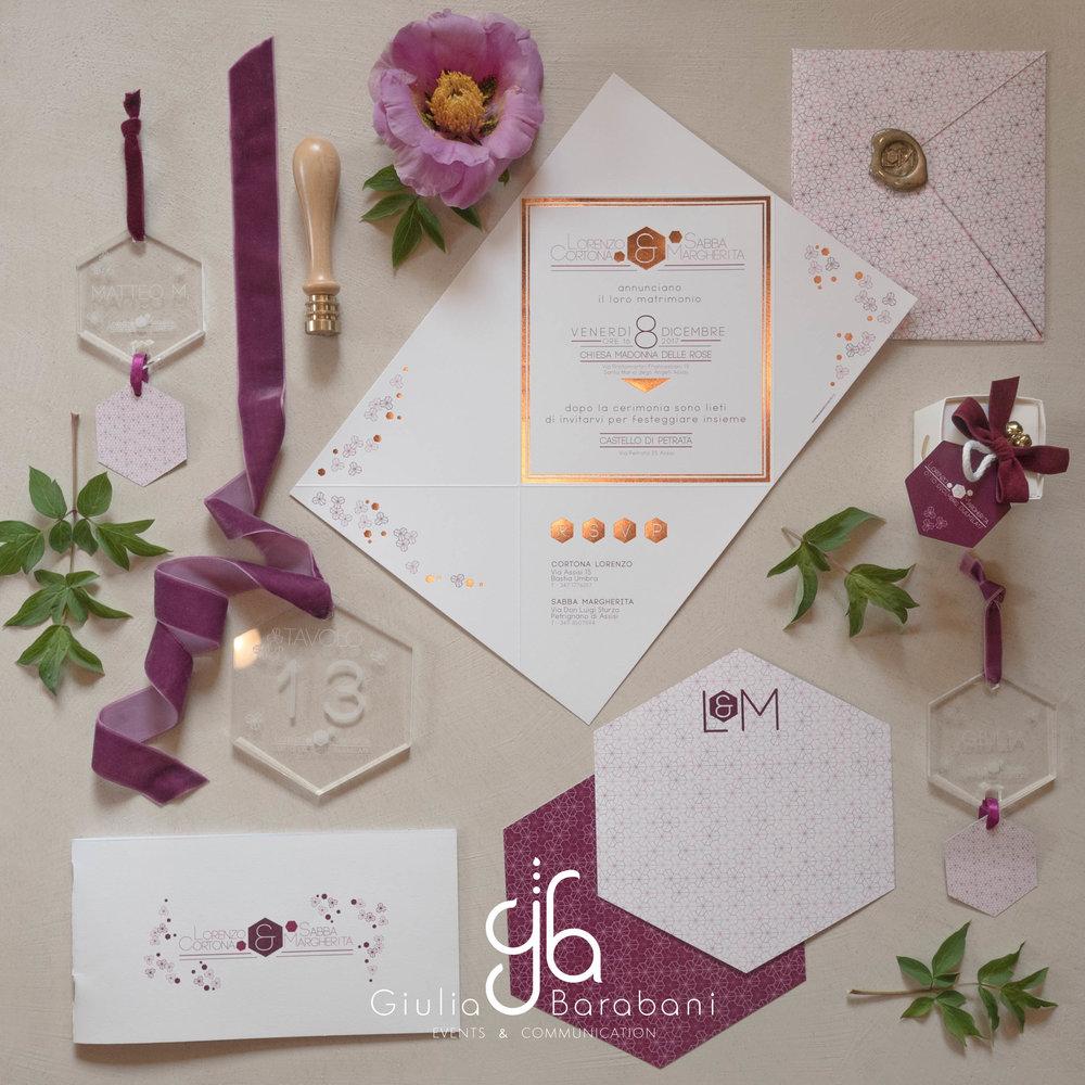 Geometric wedding stationery - winter wedding