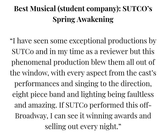 It's a Christmas miracle. The 'Last Night I Dreamt Of' best student musical award. Glad to see the legacy of Spring Awakening lives on. #notgone
