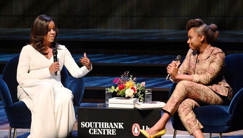 MICHELLE OBAMA DISCUSSES HER AUTOBIOGRAPHY, 'BECOMING' WITH CHIMAMANDA NGOZI ADICHIE AT THE ROYAL FESTIVAL HALL - FLOWERS BY REBEL REBEL