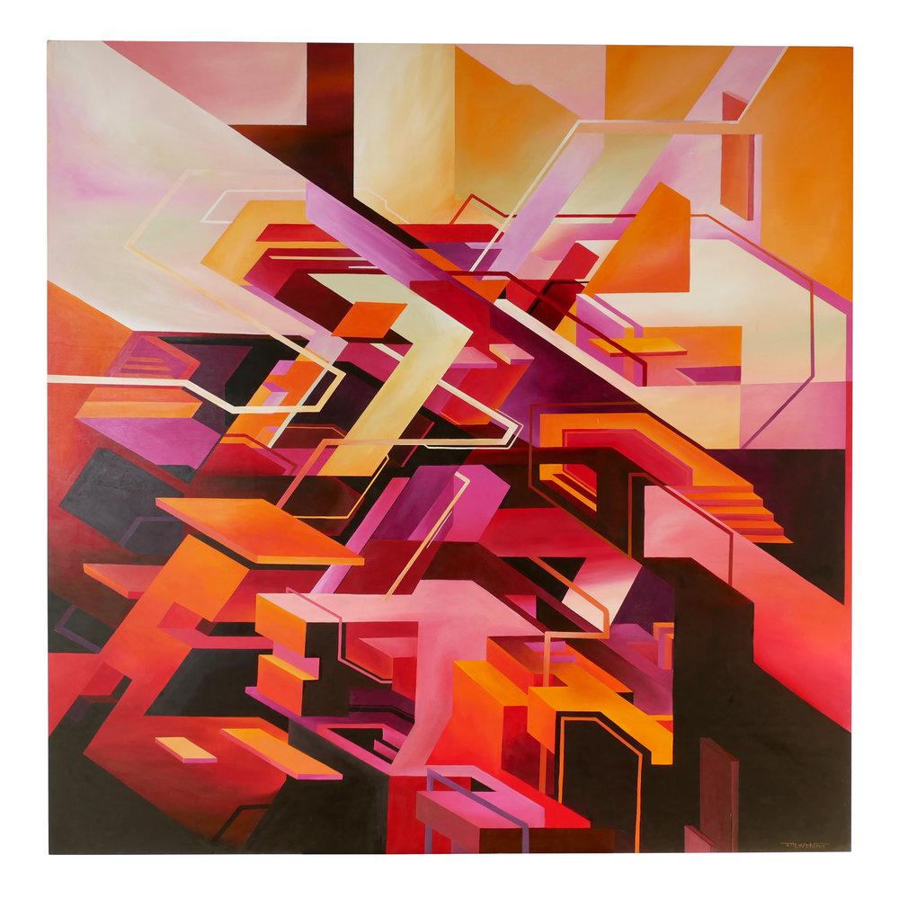 'Inferno' 120cm x 120cm - Acrylic on wood 2018 -