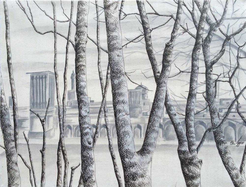 Acrylique & Plume sur toile, 35cm X 27 cm, 2016.JPG