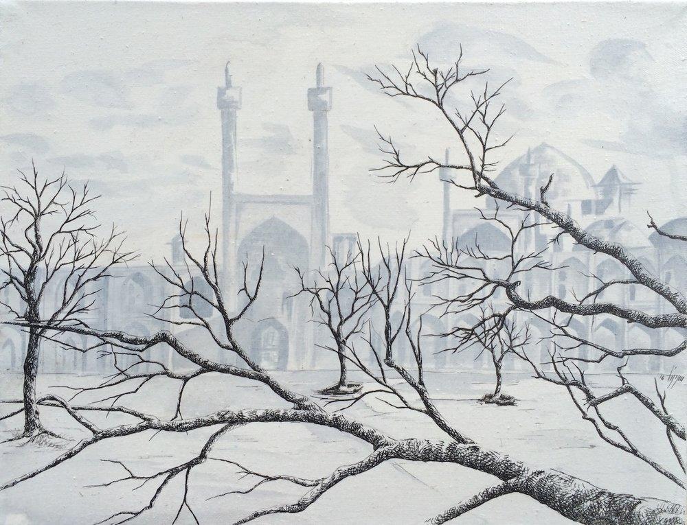 Acrylique & Plume sur toile, 35cm X 27cm, 2016.JPG