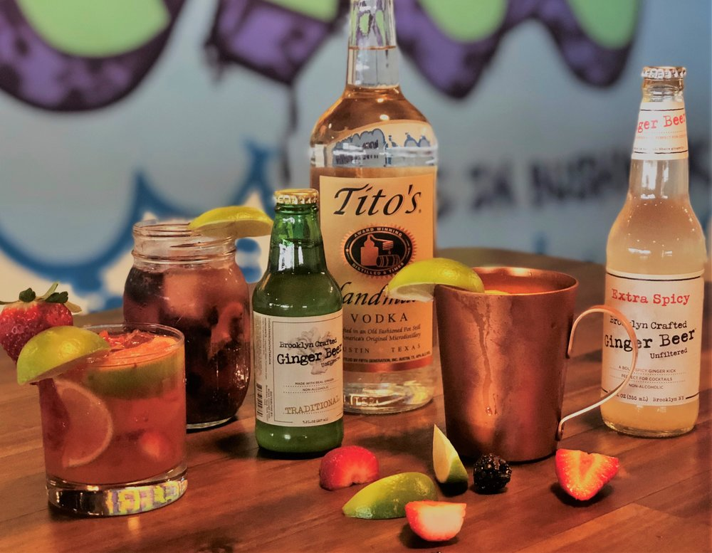 Featured Mules include (from left): Strawberry Mule, Blackberry Rum Mule and the Irish Mule.