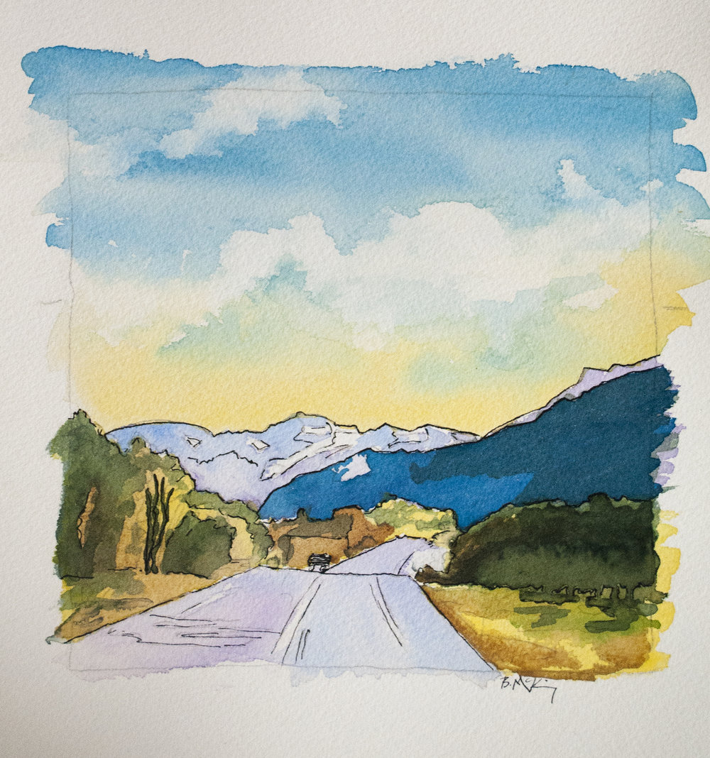 Mountain Road, Watercolor and Pen on 300lb, 12x12 inches, 2016