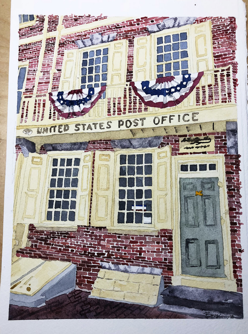 3rd and Market Post Office, Watercolor, 8x12 inches, 2018