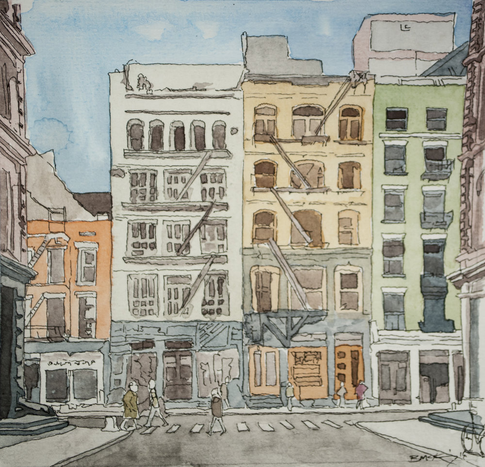 SOHO, Watercolor and Pen on 90 lb, 5x5 inches, 2018 SOLD