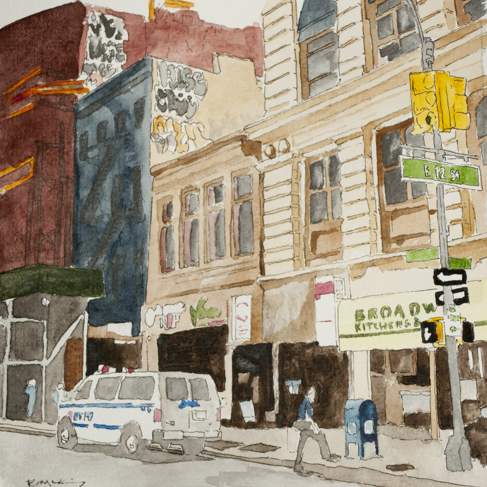 12th and Broad, Watercolor and Pen on 90lb, 5x5 inches, 2018 SOLD