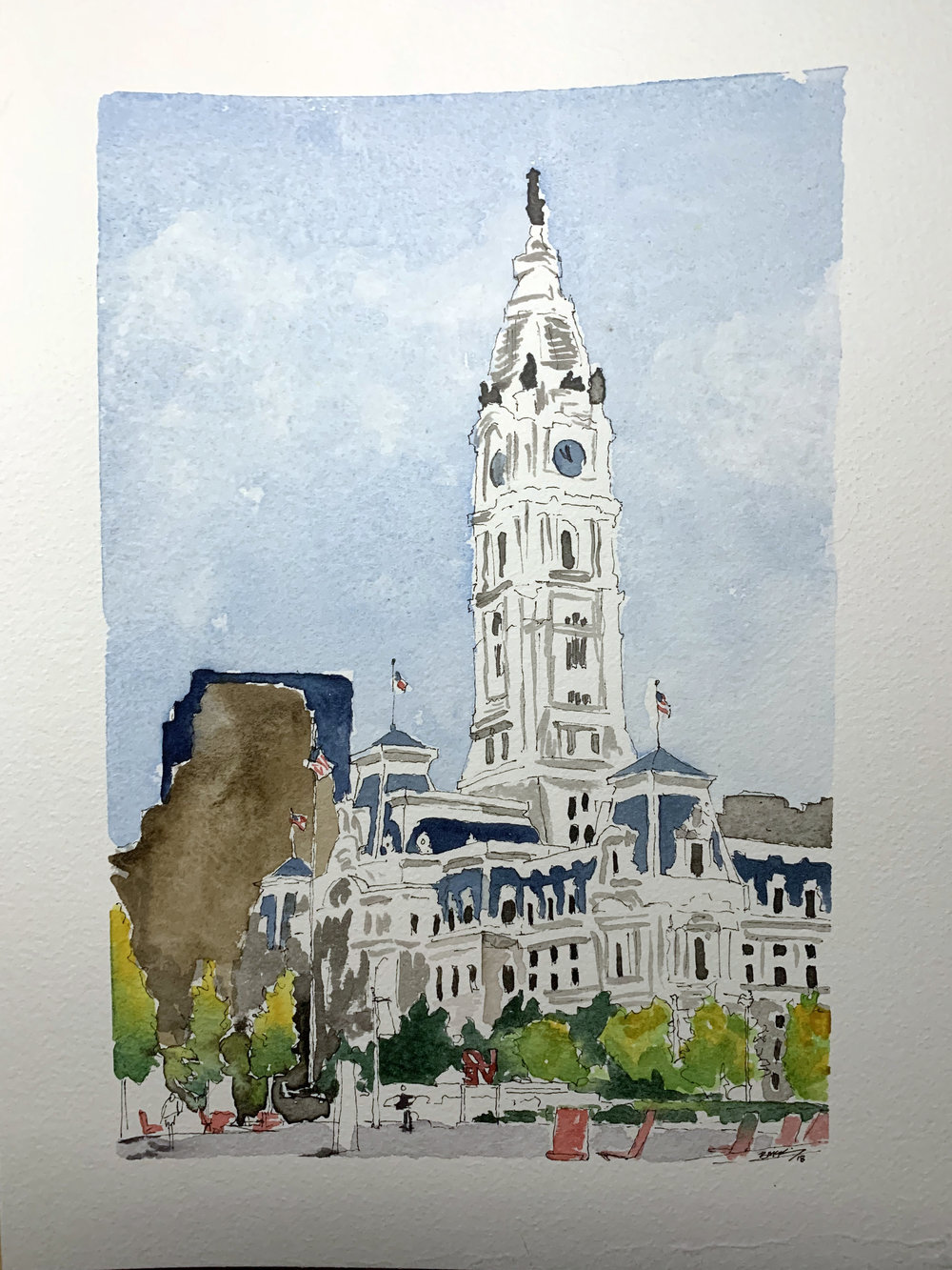 City Hall from Love Park, 9x12 inches, watercolor, ink wash and pen on 140lb, Feb 2019